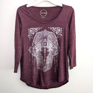 Lucky Brand Metallic Medallion Print Graphic Tee